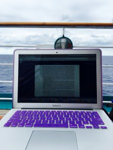 This is how I usually study, bringing my laptop out to Deck 7.