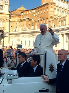Going to the Vatican to see Pope Francis on his Pope Mobile and hear him talk about peace
